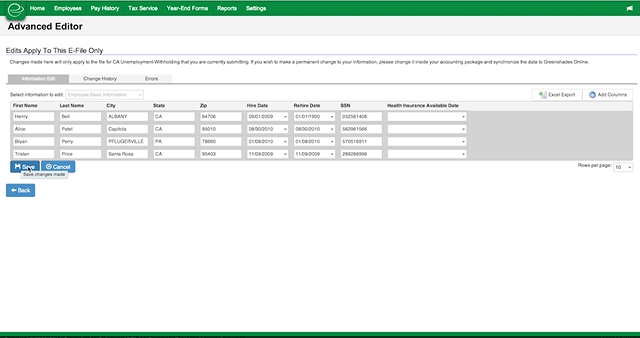 Payroll Tax Service Screenshot